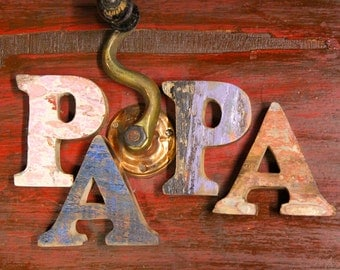 FREE SHIP, Beach Decor Wooden letters PAPA Vintage Style Nautical by Seastyle