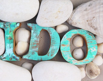 "Beach Wedding Decor ""I DO""  Sign Vintage Style Nautical Wooden by Seastyle"