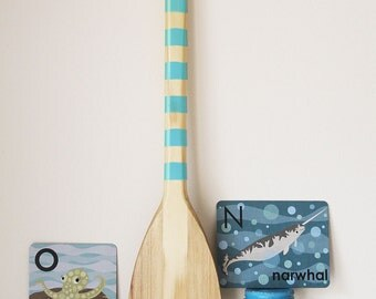Beach Decor Paddle Caribbean Blue Wood Nautical by SEASTYLE