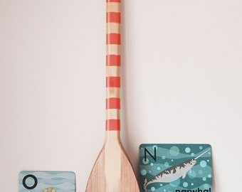 Beach Decor Paddle Red Wood Nautical by SEASTYLE