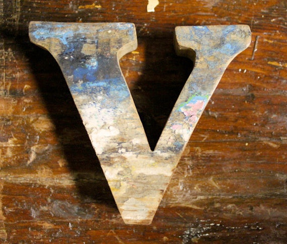 Items Similar To Beach Decor Wooden Letter V Vintage Style