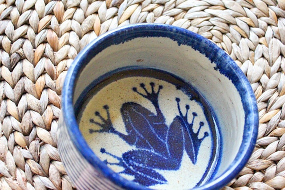 Beach Decor Ceramic Bowl  Navy Vintage Nautical by Seastyle