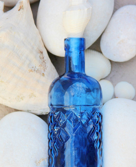 Reserved for Robin Cobalt Glass Bottle with Conch Seashell by SEASTYLE