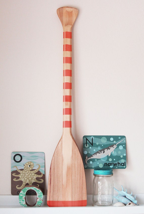 Items similar to beach decor paddle red wood nautical by for Beach house decor items