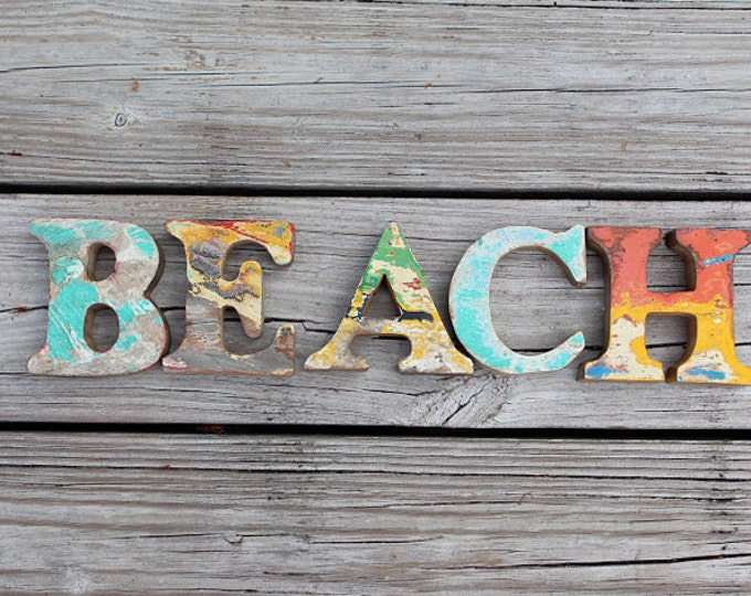 FREE SHIP beach decor vintage Style BEACH nautical wooden