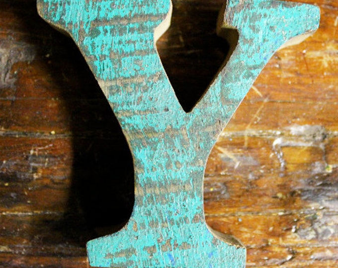 Beach Decor Wooden letter Y Vintage Style Nautical by SEASTYLE