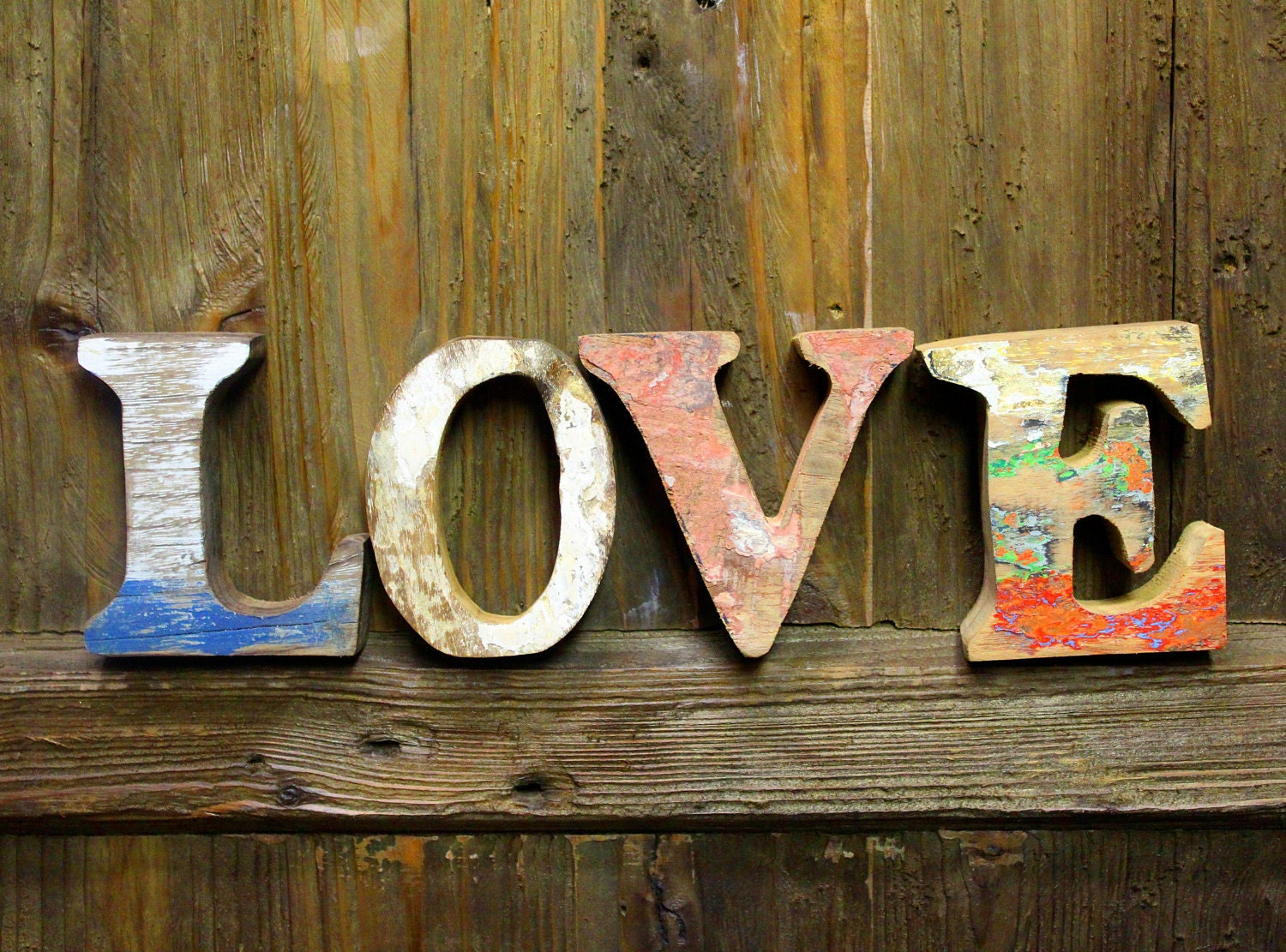 Beach Decor LOVE Sign Vintage Style Nautical Wooden By