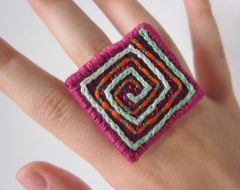 Wool Felt Art Ring - Adjustable Band