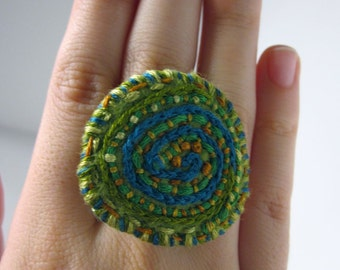 Hand Made Green Felt Embroidered Ring