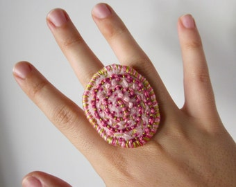 Pink Embroidered Felt Wearable Art Ring