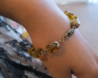 Faceted Amber Crystal Beaded Chain Link Bracelet