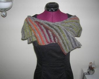 Shawl, hand-crochet  in hand spun wool EU SELLER