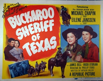 "Buckaroo Sheriff of Texas.Original 1951 11""x14""Autographed Lobby Card Movie Poster Title Card. FREE SHIPPING.Michael Chapin,Eilene Janssen,"