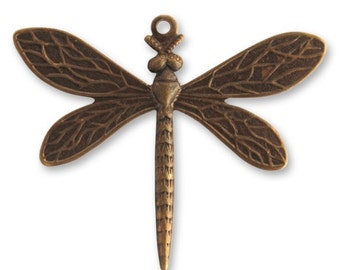Free US shipping dragonfly brass brown 35x30 vintaj natural brass