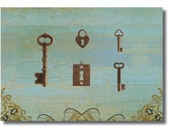 sALe!!keys keyholes vintaj natural brass set of 5