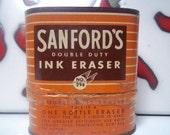 BOGO--Vintage Sanford's Double Duty Ink Eraser/Tin and Product Bottles