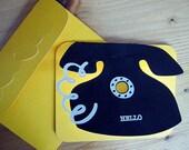 "Handmade ""Hello"" Vintage Telephone Miss You Card"