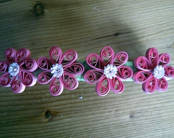 Pink Quilled Flower Barrette with Fringed Centers