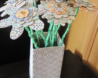 Beautiful Chipboard Floral Flower Bouquet with Vase