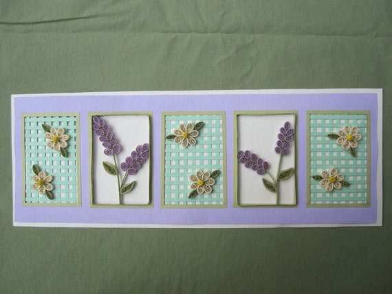 Quilled Lavendar, Flowers & Lattice Floral Picture Decor Piece