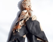 Silk Scarf. ON SALE Black, creme and burnt orange pattern. Large square style. Beautiful silk, weight and design.