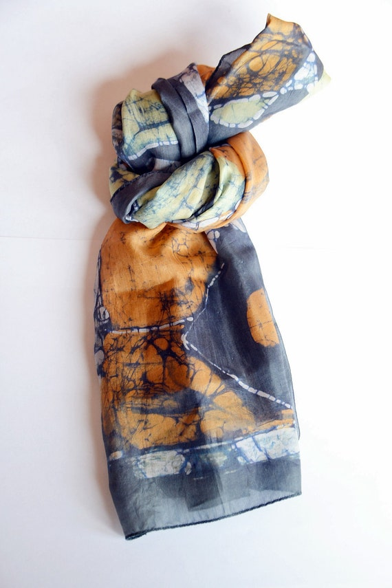 Silk Scarf. Orange and navy geometric print. Long and skinny style. Great for a head wrap or belt.