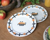 French Pretty Plates with Apricot Pattern by Badonviller