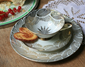 60's Vintage Cup and Dessert Plate by Bareuther Waldsassen, Bavaria