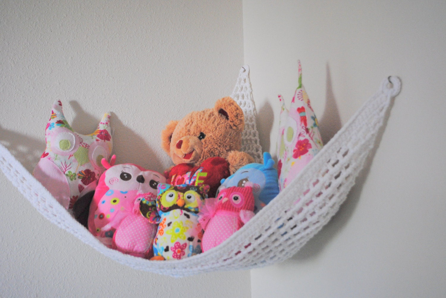 White Crocheted Stuffed Animal Hammock