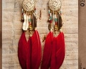 Native red feathers earrings with gold plaited feather and beads. Dream catcher. FREE SHIPPING