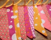 REDUCED Fabric bunting - pink, orange (2m plus binding)