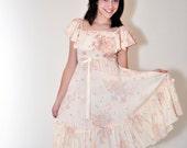 1980's Dress VICKY VAUGHN Off Shoulder Floral