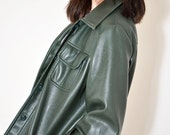 1970 Faux Leather Jacket FOREST GREEN For the VEGANS Fully Lined Belted Jacket Made For Gimbels
