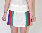 1980s Sergio Tacchini Tennis  SKIRT in White with Navy Red Green Stripe 100% Nylon