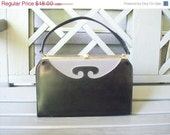 ON SALE Vintage black and grey box hinged mad men handbag with gold details and scroll work