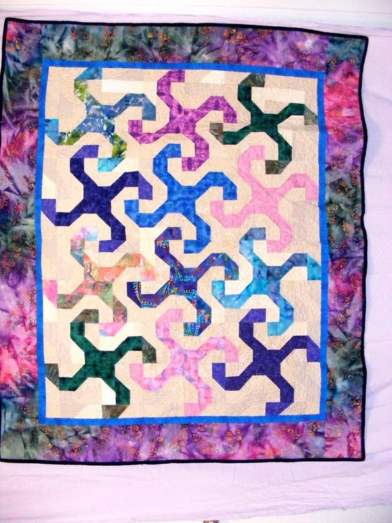 Bright batiks quilt in the Monkey Wrench pattern : monkey wrench quilt pattern history - Adamdwight.com
