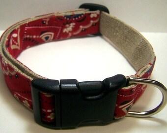 Handmade Hemp 1 inch wide Dog Collar -Red Bandana-