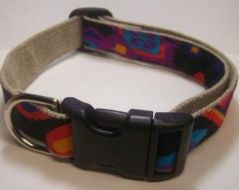 Handmade Hemp 1 inch wide Dog Collar -Southwest in Black-