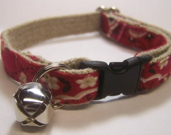 Handmade Hemp Cat Collar -Red Bandana-