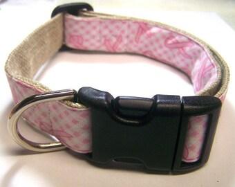 Handmade Hemp 1 inch wide Dog Collar -Pink Ribbon Gingham-