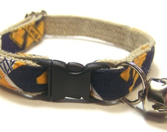 Handmade Hemp Cat Collar -University of Michigan-Wolverines