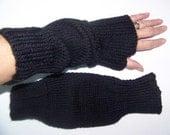 Clearance Sale: Hand Knit Wrist Warmers / Fingerless Gloves / Texting Gloves Black Acrylic Yarn