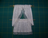 Reserved for Sandra Dollhouse Miniature Handmade Cafe-style Curtains - Off-white Flowers