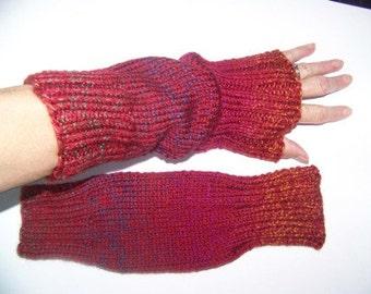 Hand Knit Wrist Warmers / Fingerless Gloves Autumn Acrylic Yarn