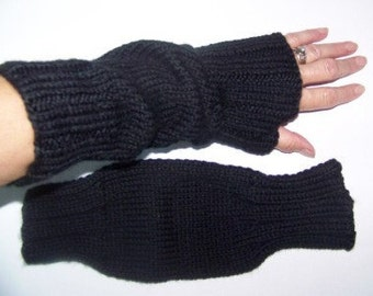 Hand Knit Wrist Warmers / Fingerless Gloves / Texting Gloves Black Acrylic Yarn