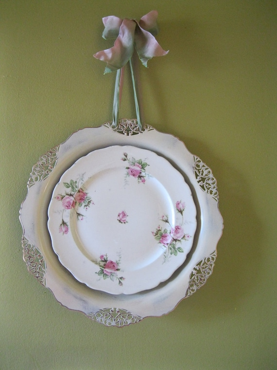 Shabby Chic Wall decor,  Rose Pattern Plate, French Ribbon