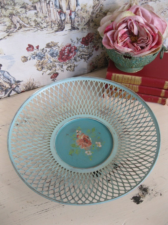 Vintage Metal Basket - Hand Painted - Turquoise