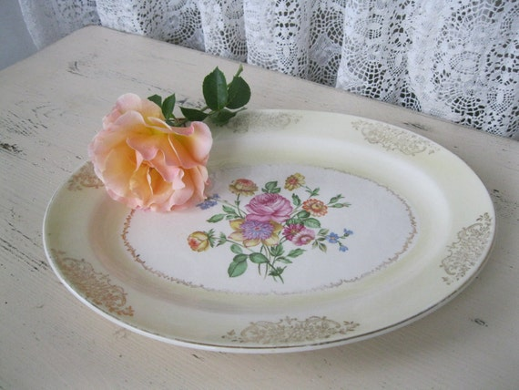 Vintage Floral Plate - Edwin M. Knowles - Made In U.S.A.
