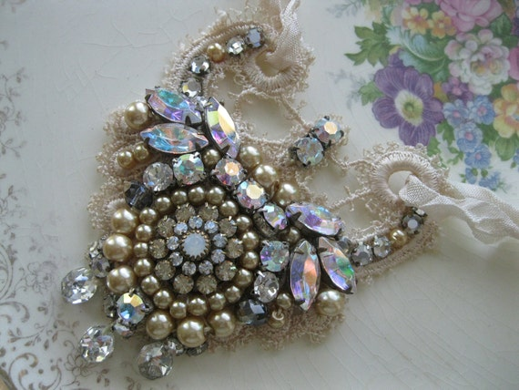 Vintage Bride - Necklace With Vintage Beads - Ivory Lace   - Silk Ribbon