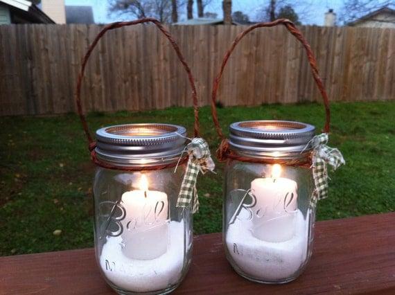 2 Rustic Hanging Mason Jar Lanterns